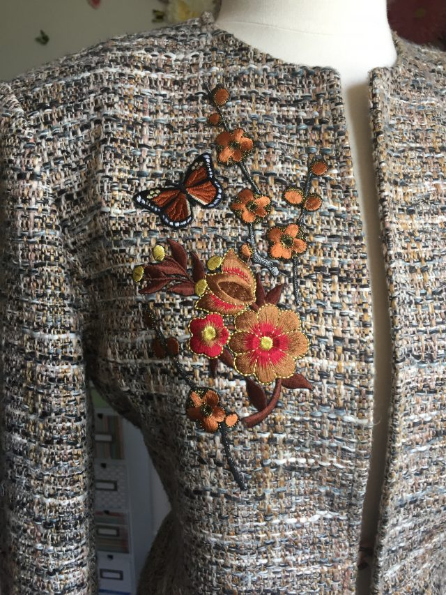 embroidered tweed blazer Jones New York