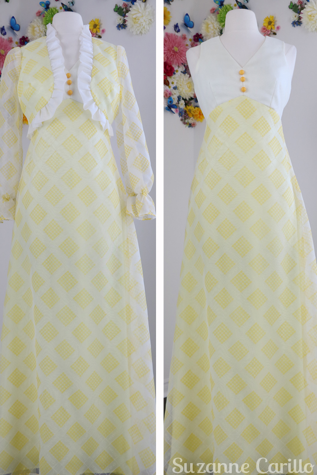 New Vintage Listings on Etsy the dress that was stolen yellow 1970s maxi dress matching bolero jacket