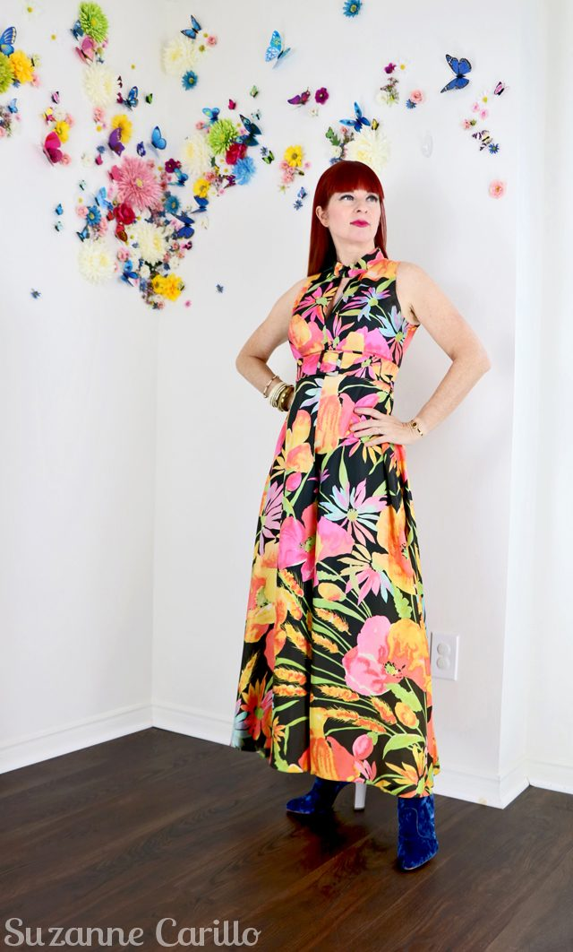 amazing 1970s bold floral jumpsuit for sale