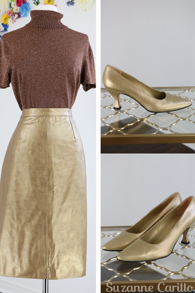 gold pleather vegan skirt for sale gold pumps for sale buy vintage online