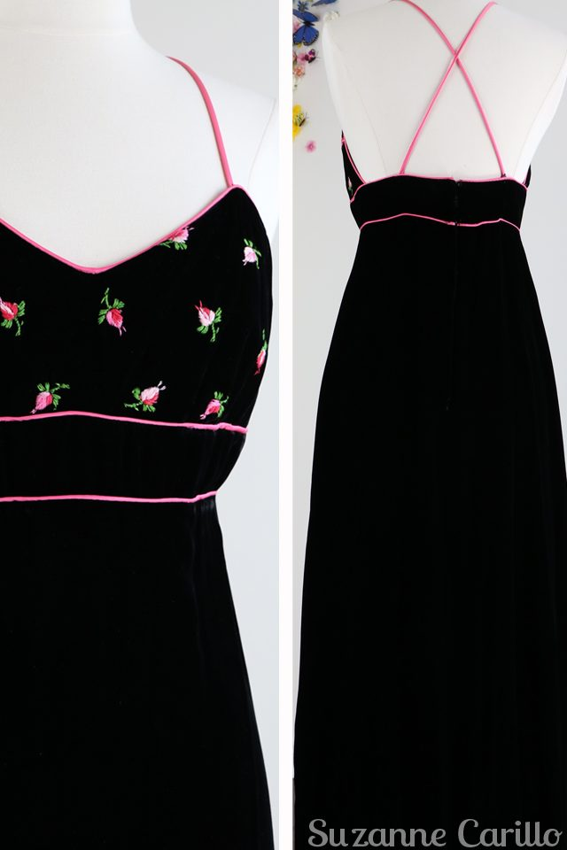 buy vintage black maxi embroidered rose dress cross back vintagebysuzanne on etsy