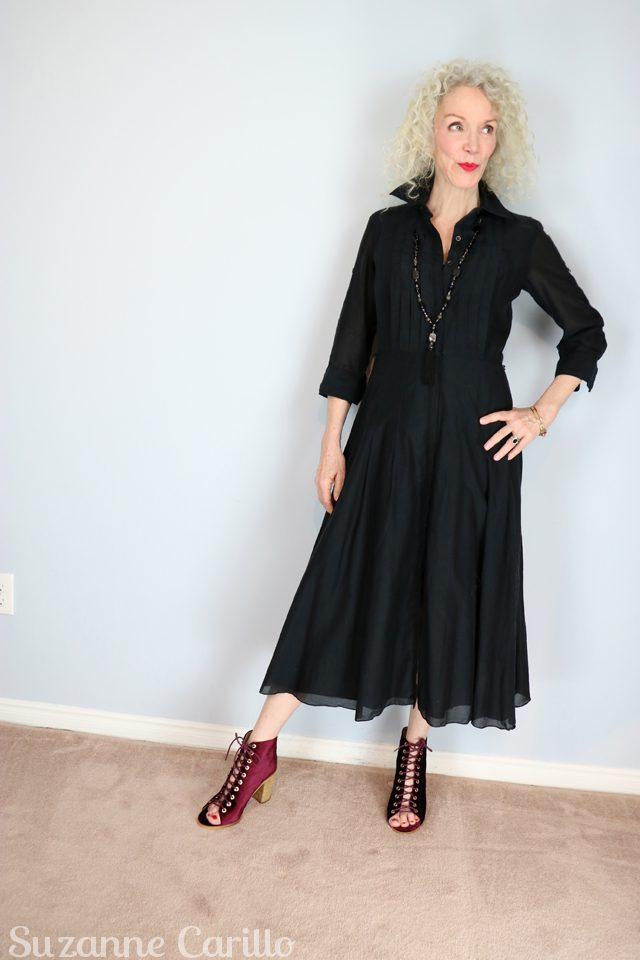patti not dead yet style black dress suzanne carillo