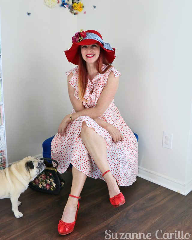 how to wear polkadots with a pug suzanne carillo style