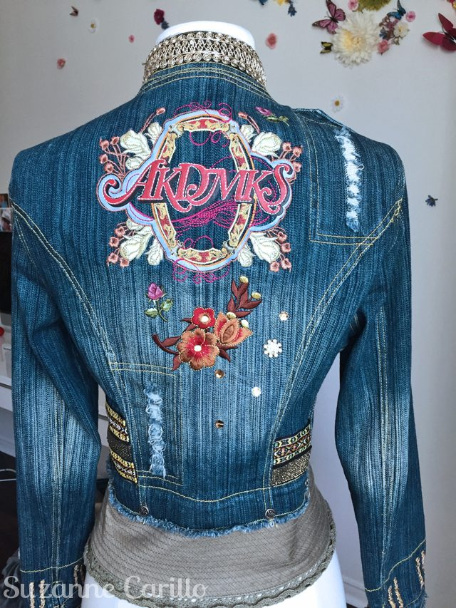 turn a jean jacket into wearable art dedra back