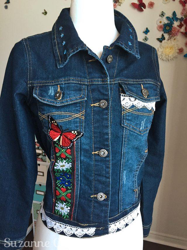 turn a jean jacket into wearable art front view reese