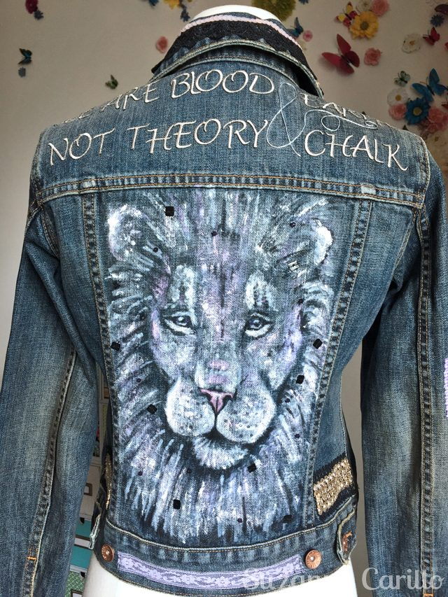 turn a jean jacket into wearable art rylee back