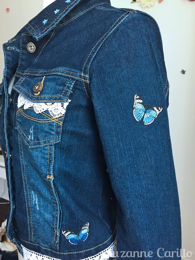 wearable art jean jacket reese side