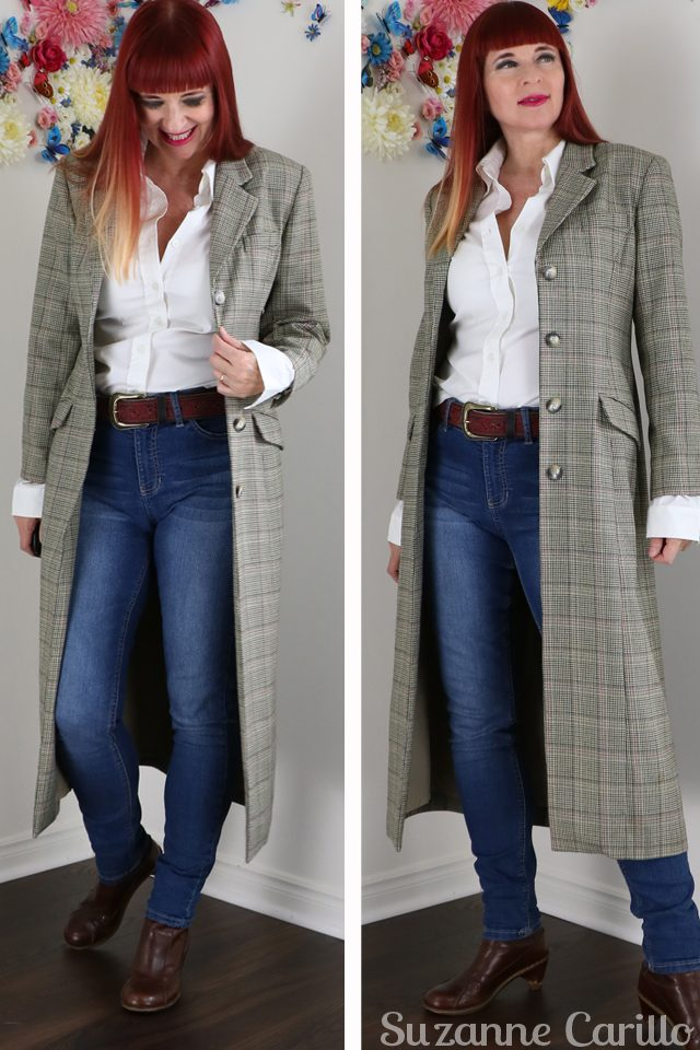 Vintage Fall Coats long plaid blazer for fall suzanne carillo