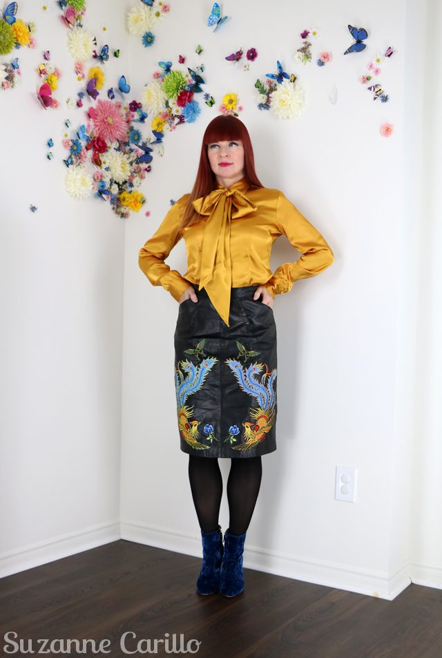 DIY embroidered leather skirt. How to wear embroidered leather over 50 suzanne carillo