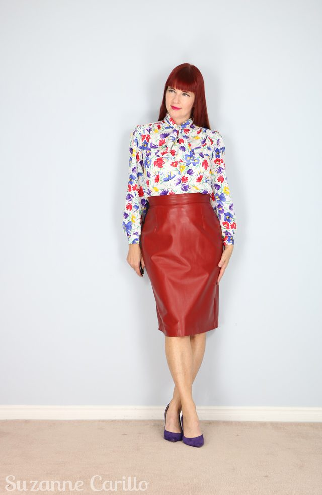 for sale vintage red leather pencil skirt suzanne carillo style