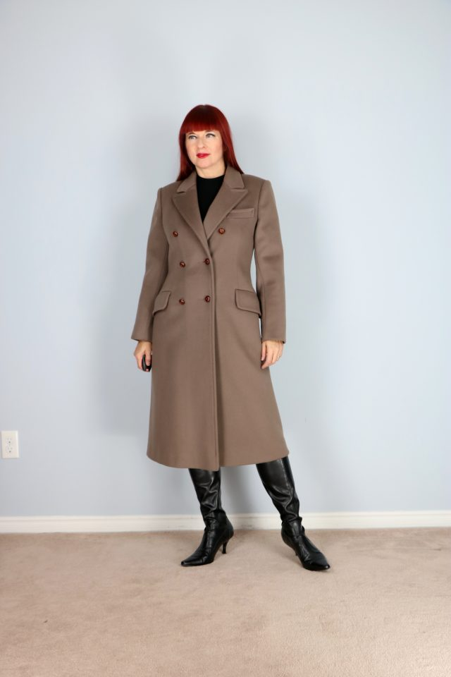 vintage double breasted taupe wool winter coat for sale vintagebysuzanne