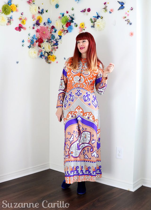how to wear a 1970s patterned maxi dress over 50 suzanne carillo style sm