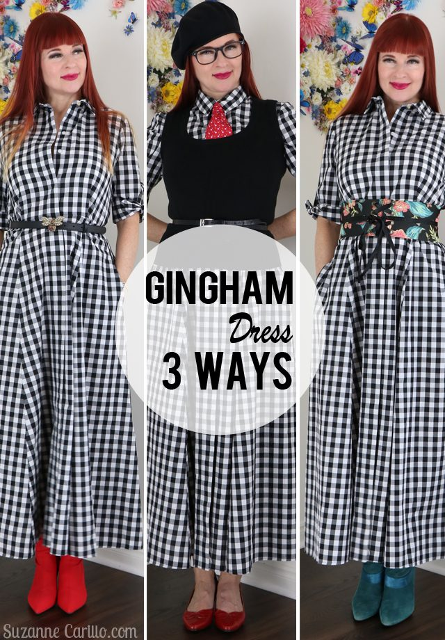 gingham dress 3 ways suzanne carillo style over 40