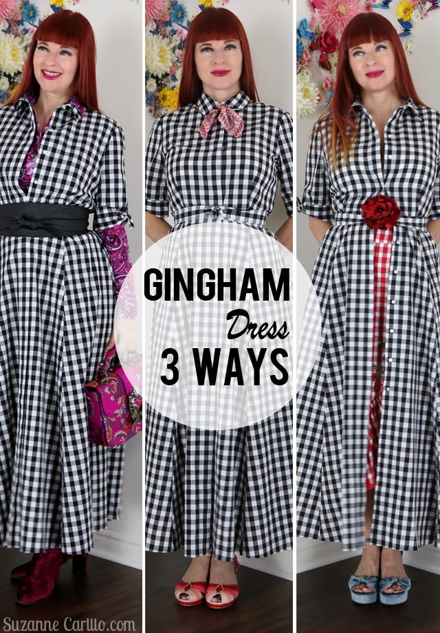 One Dress Three New Looks gingham dress styled 3 more ways suzanne carillo style over 40