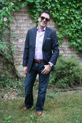 Purple blue green plaid blazer purple check shirt