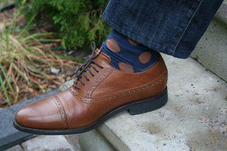 Brown blue polk-a-dot mens socks