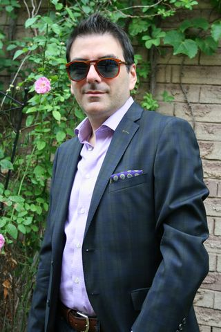Mens blue green plaid blazer