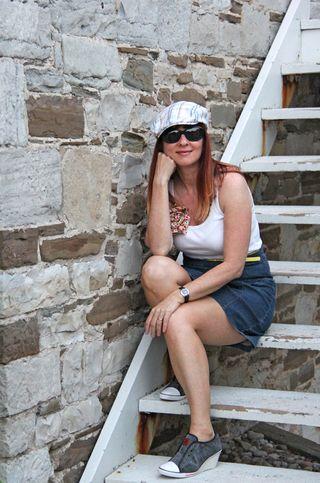 Jean skirt white muscle shirt