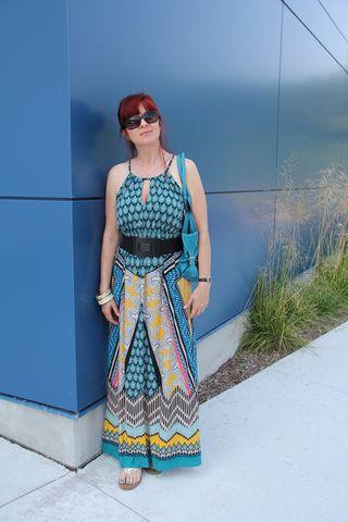 Black belt gold sandals maxi dress