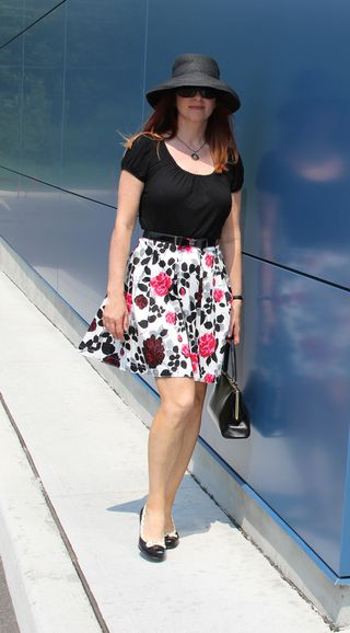 White floral skirt 1950 style