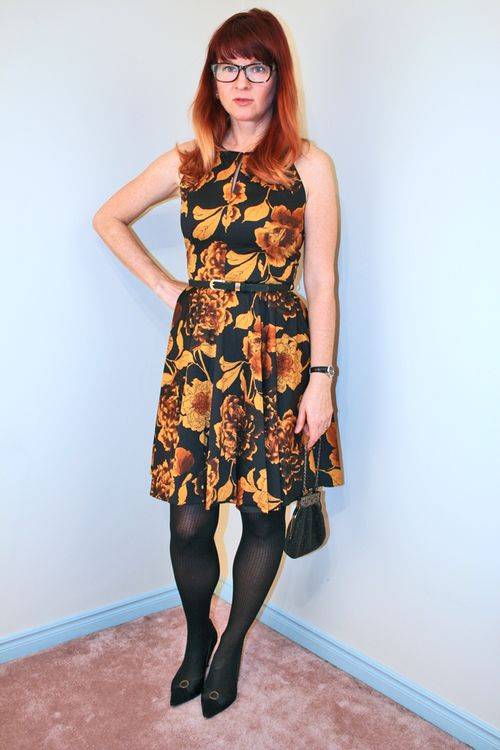 Gold and yellow floral mod cloth dress 1950's style