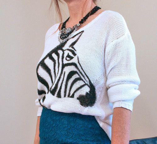 DIY zebra sweater close