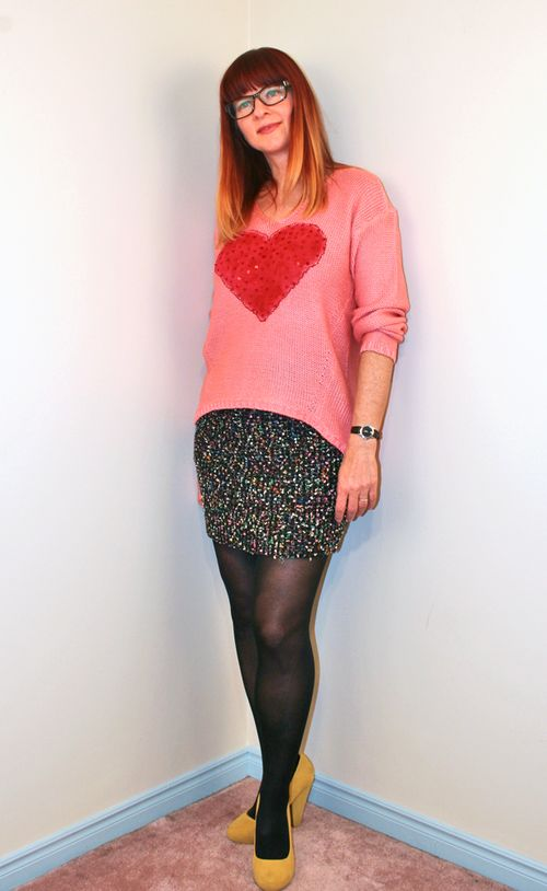 Pink DIY heart sweater
