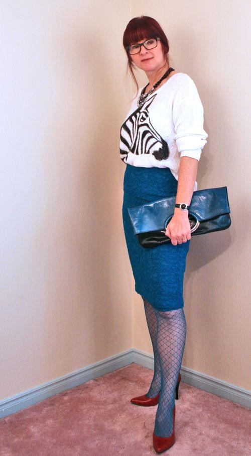 Zebra pencil skirt side view
