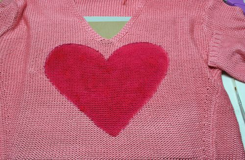 DIY painted heart on sweater