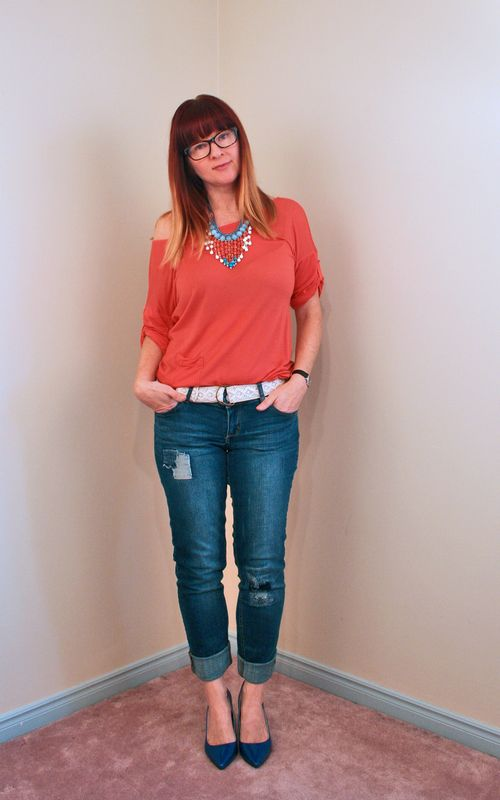 Orange blue beaded necklace