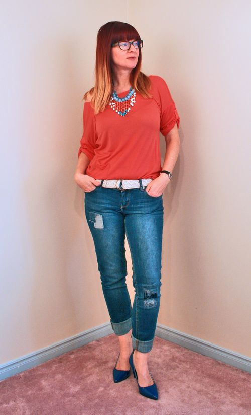 Orange top blue heels blue orange necklace