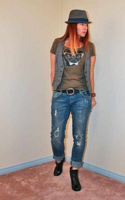 Gap vest black pug tshirt fedora boyfriend jeans