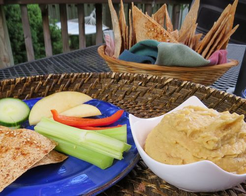 Spicey chips veg and hummus