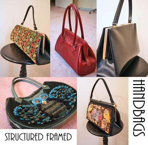 Structured framed handbags