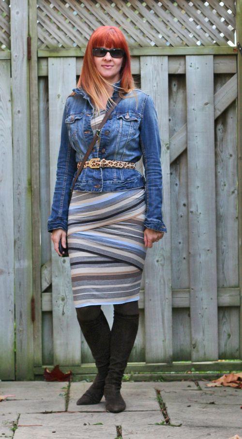 Anthropologie striped body con wrap dress