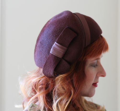 Brown bow 1940s hat sweet trash