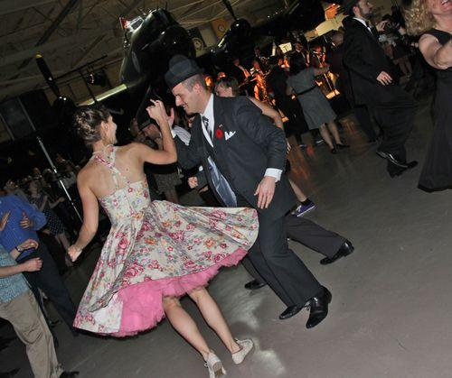 Couple lindy hop dancing