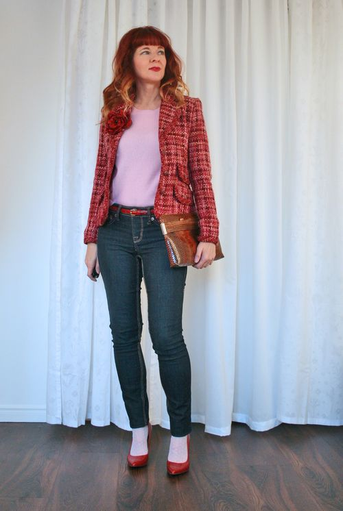 Pink faux chanel tweed blazer suzanne carillo style files