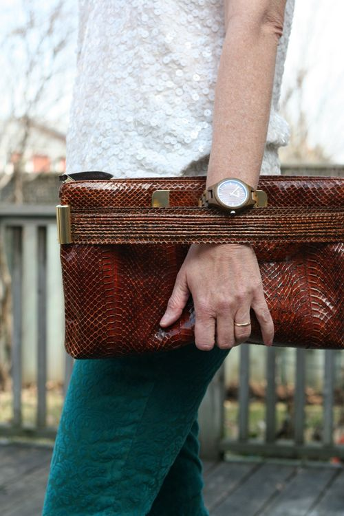 Retro handbag clutch jord wooden watch
