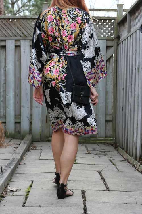 Back of silk kimono dress by single dress