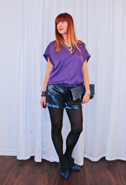 I refuse to be defined by my age. Purple top sequine shorts over 40 style suzanne carillo