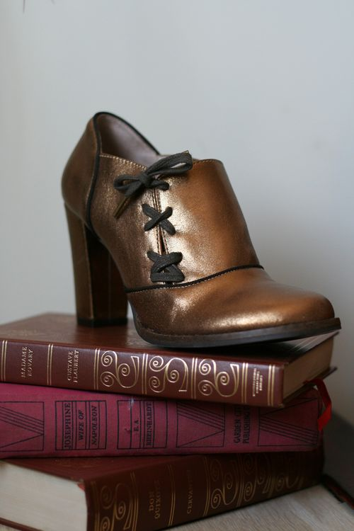 Anthropologie bronze booties