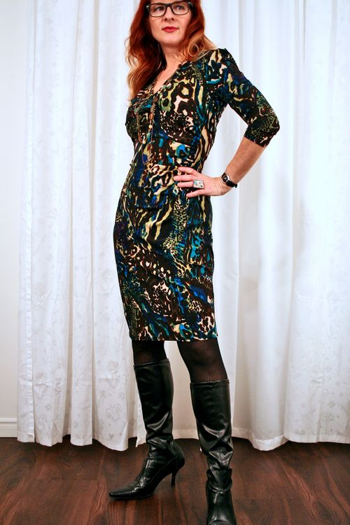 Kasper blue brown fitted dress suzanne carillo style files
