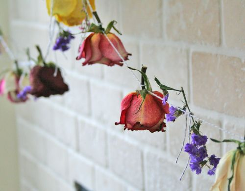 Homemade dried rose garland