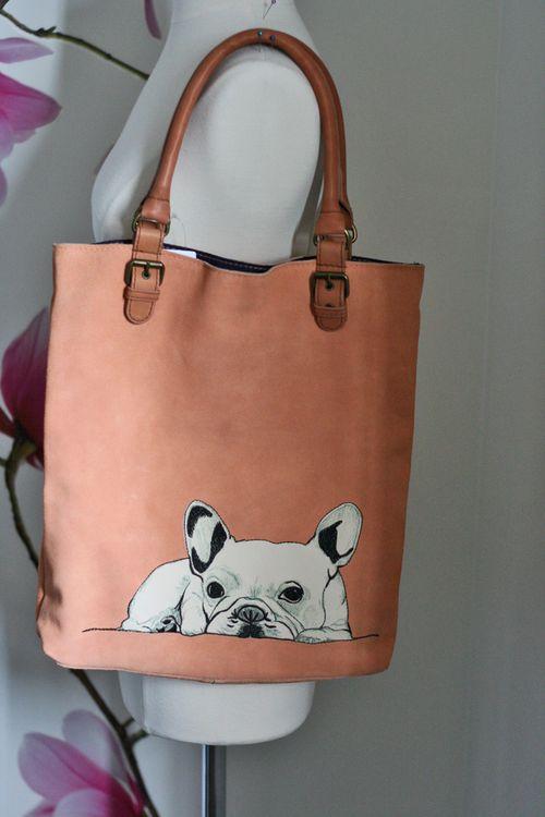 Frenchie dog handbag anthropologie