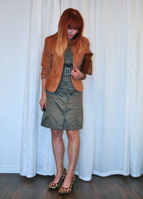 Brown suede jacket army green dress