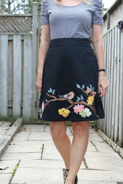 Anthropologie embroidered bird skirt