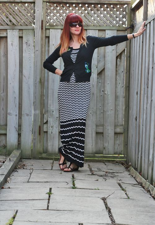 Black and white zigzag maxi dress