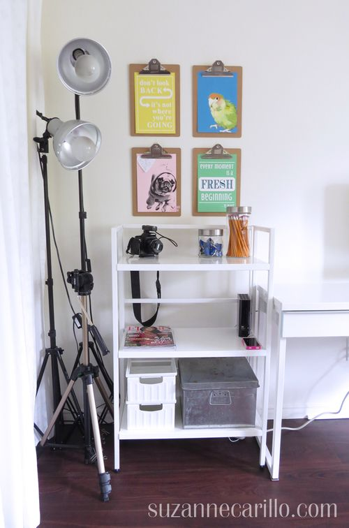 Easy home office decorating ideas clipboard focal point