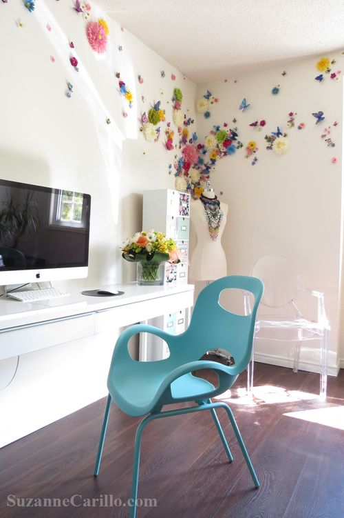 Erfly Fl Wall Treatment Home Office Decor Ideas Suzanne